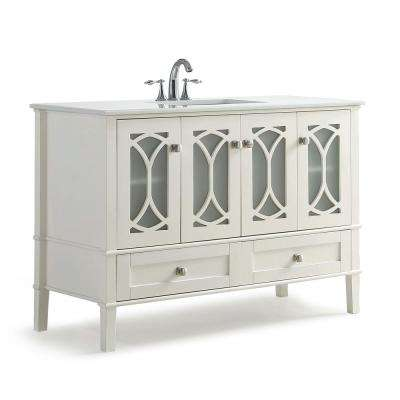 Denning 48 in. Bath Vanity in Pure White with Extra Thick Engineered Quartz Marble Vanity Top in White with White Basin