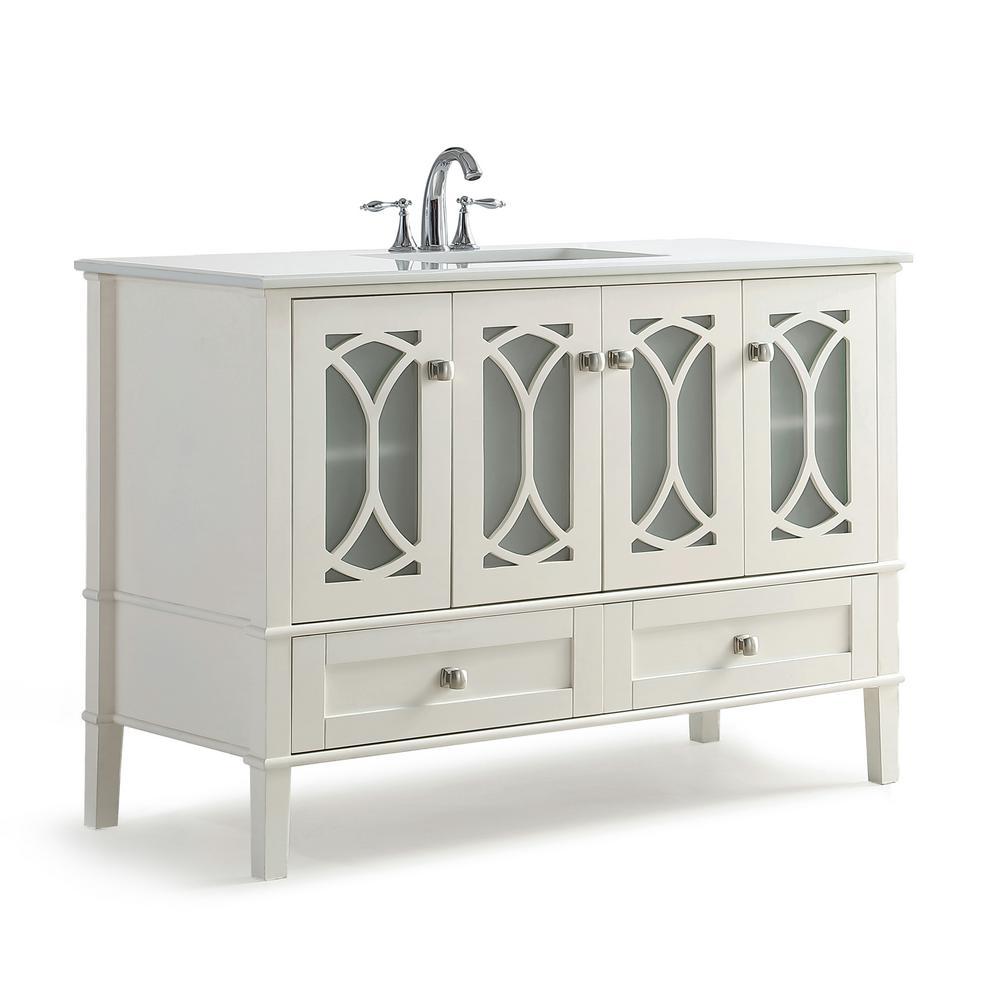 Simpli Home Vanity Soft White Engineered Stone Vanity Top White Basin