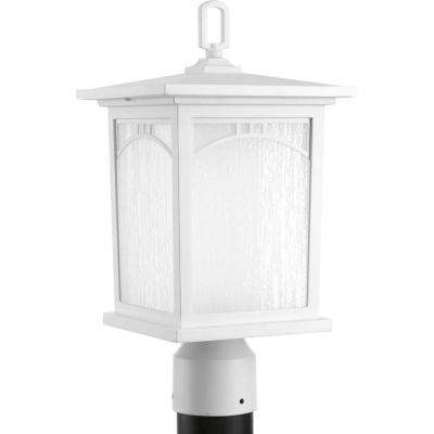 Residence Collection 1-Light Textured White LED Outdoor Post Lantern