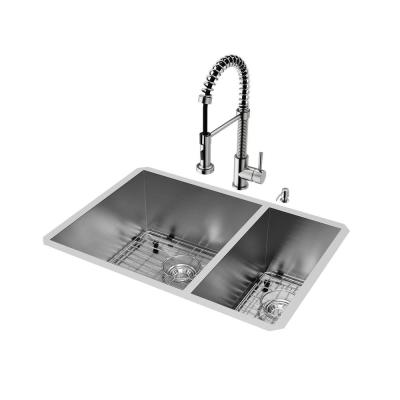 All-in-One 29 in.Endicott Stainless Steel 60/40 Double Bowl Undermount Kitchen Sink, Pull-down Faucet in Stainless Steel