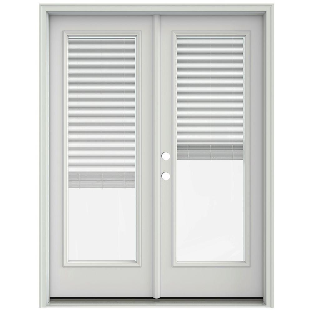 Jeld wen 60 in x 80 in primed steel right hand inswing for French doors exterior inswing