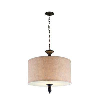 Jaxson Collection 2-Light Oil Rubbed Bronze Pendant with Crafty Burlap Fabric Shade