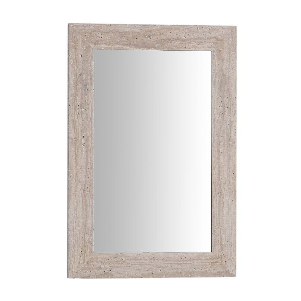 Bellaterra Home Tigard 24 In X 36 Stone Single Framed Mirror Travertine