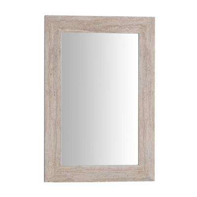 Tigard 24 in. x 36 in. Stone Single Framed Mirror in Travertine