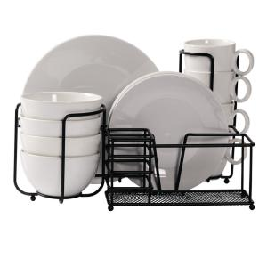 Dinner Set 17-Piece White Round Dinnerware Set