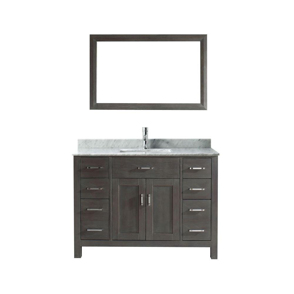 Studio Bathe Kalize 48 in. Vanity in French Gray with Marble Vanity Top in Carrara White and Mirror