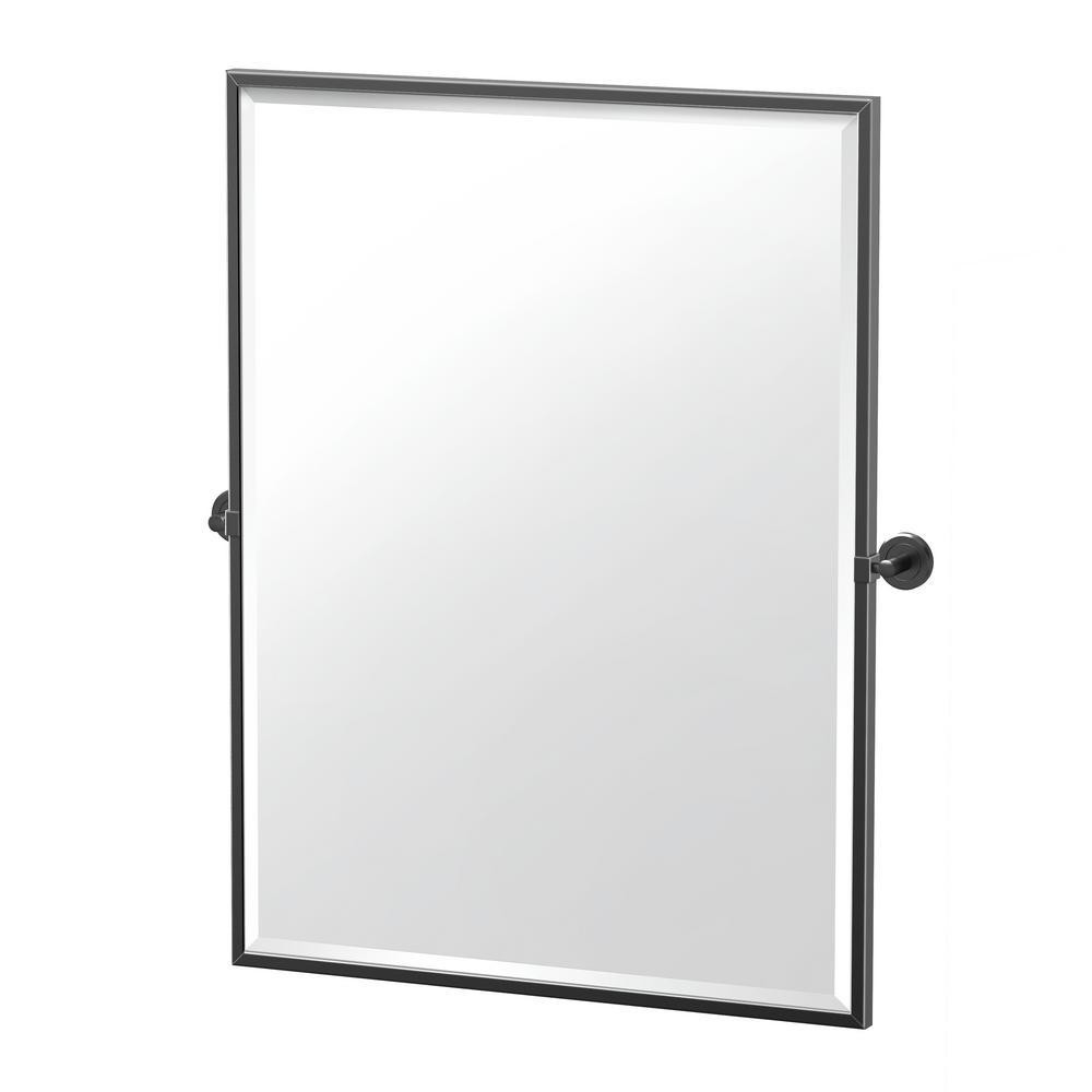 Latitude II 27.63 in. x 32.5 in. Framed Rectangle Mirror in Matte Black