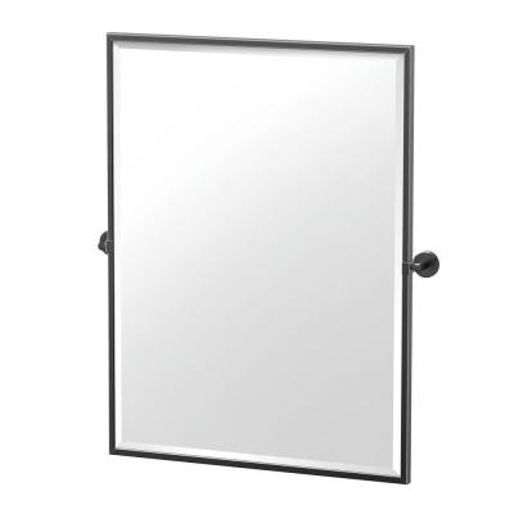 Latitude 24.5 in. W x 32.5 in. H Framed Rectangular Beveled Edge Bathroom Vanity Mirror in Matte Black