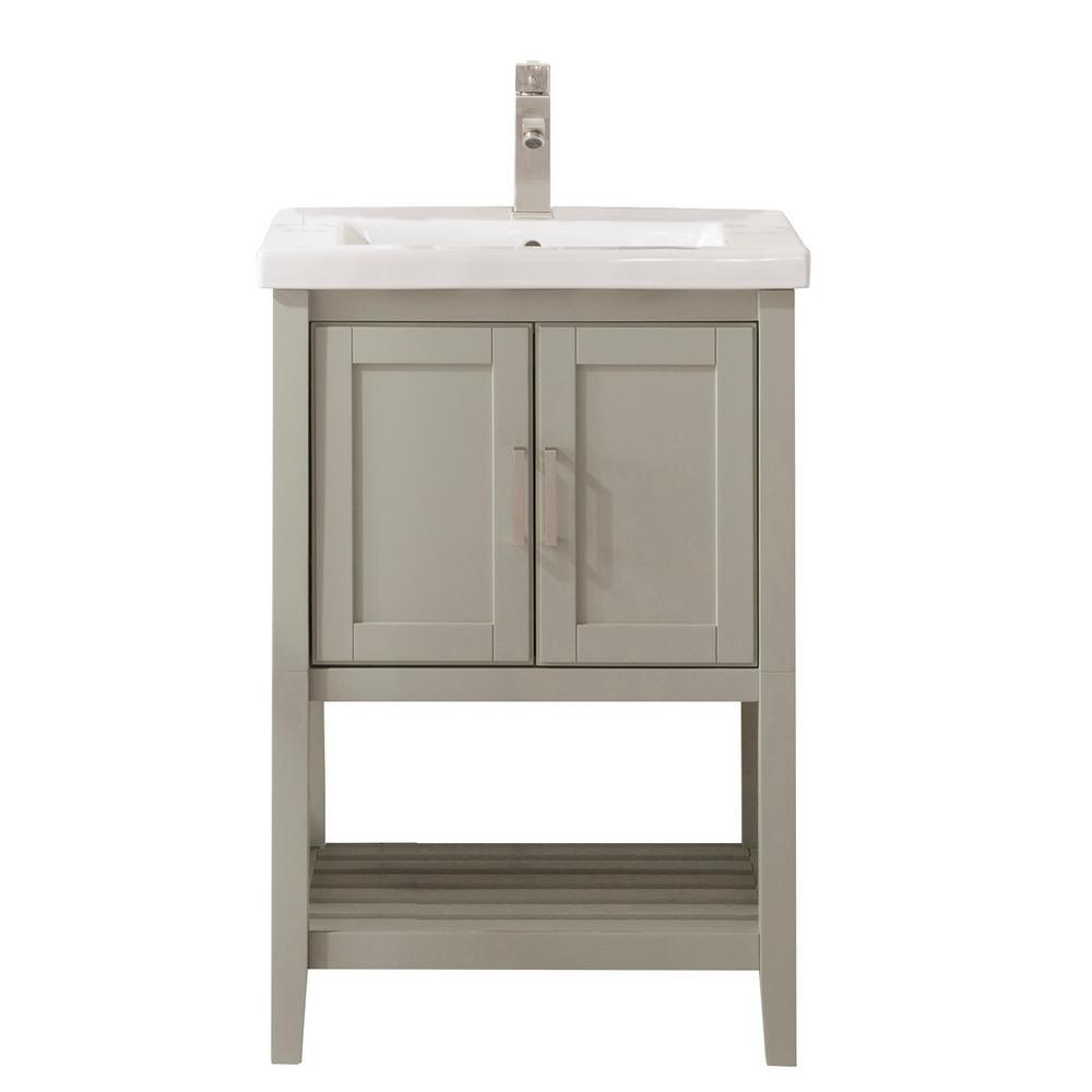 24 in. W x 18.5 in. D Vanity in White Gray with Ceramic Vanity Top in White with White Basin