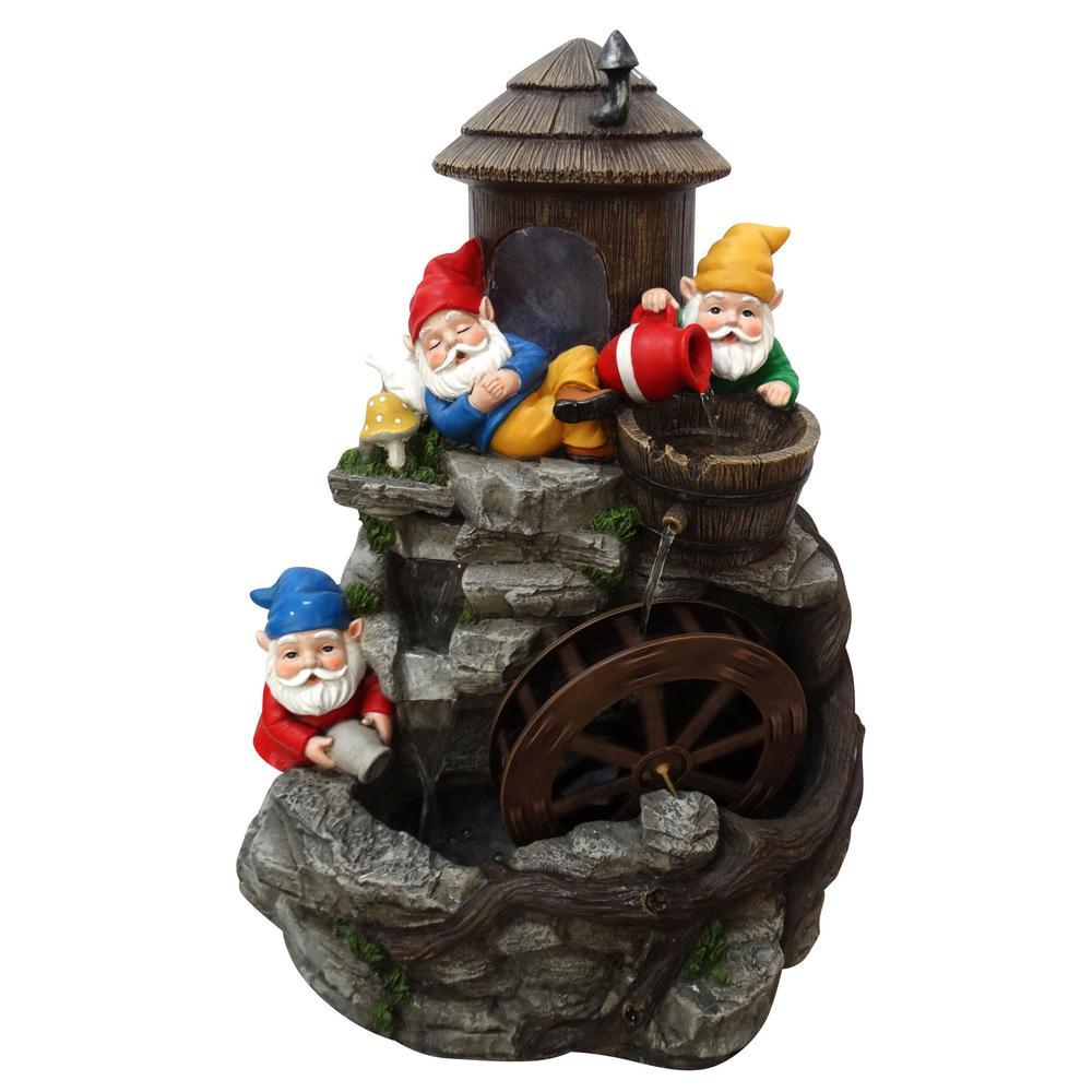 Alpine Three Gnomes Water Wheel Fountain Usa1370s The