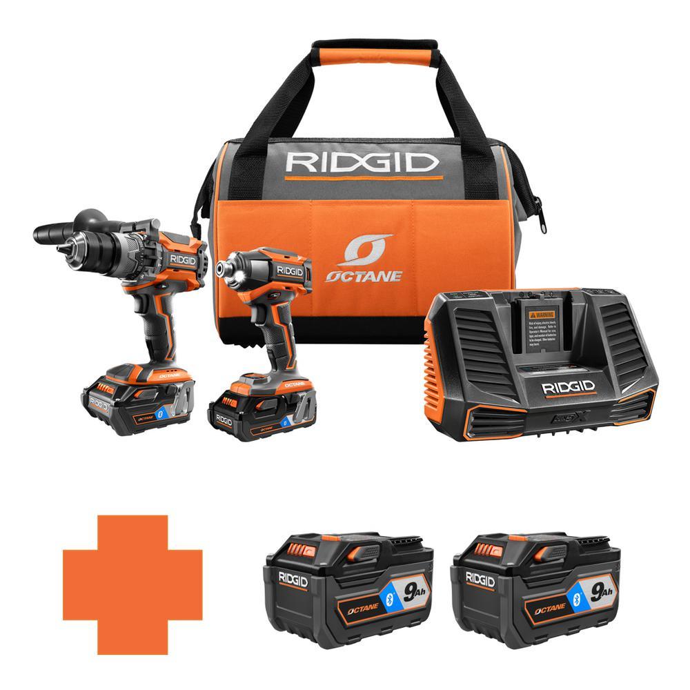 RIDGID 18-Volt OCTANE Lithium-Ion Cordless Brushless Combo Kit w/Bonus Bluetooth 9.0 Ah Battery & Bluetooth 9.0 Ah Battery