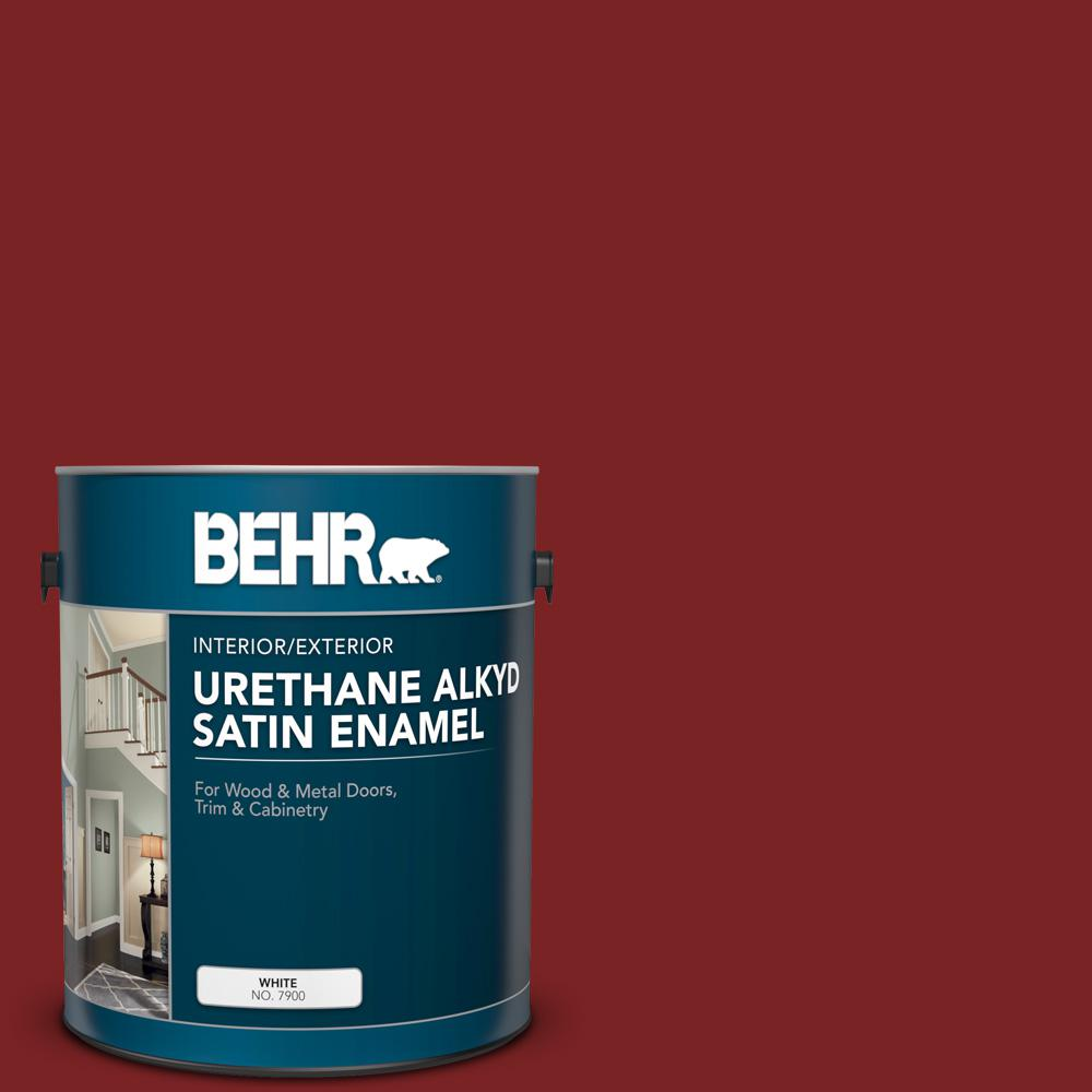 BEHR 1 gal. #SC-112 Barn Red Urethane Alkyd Satin Enamel Interior/Exterior Paint