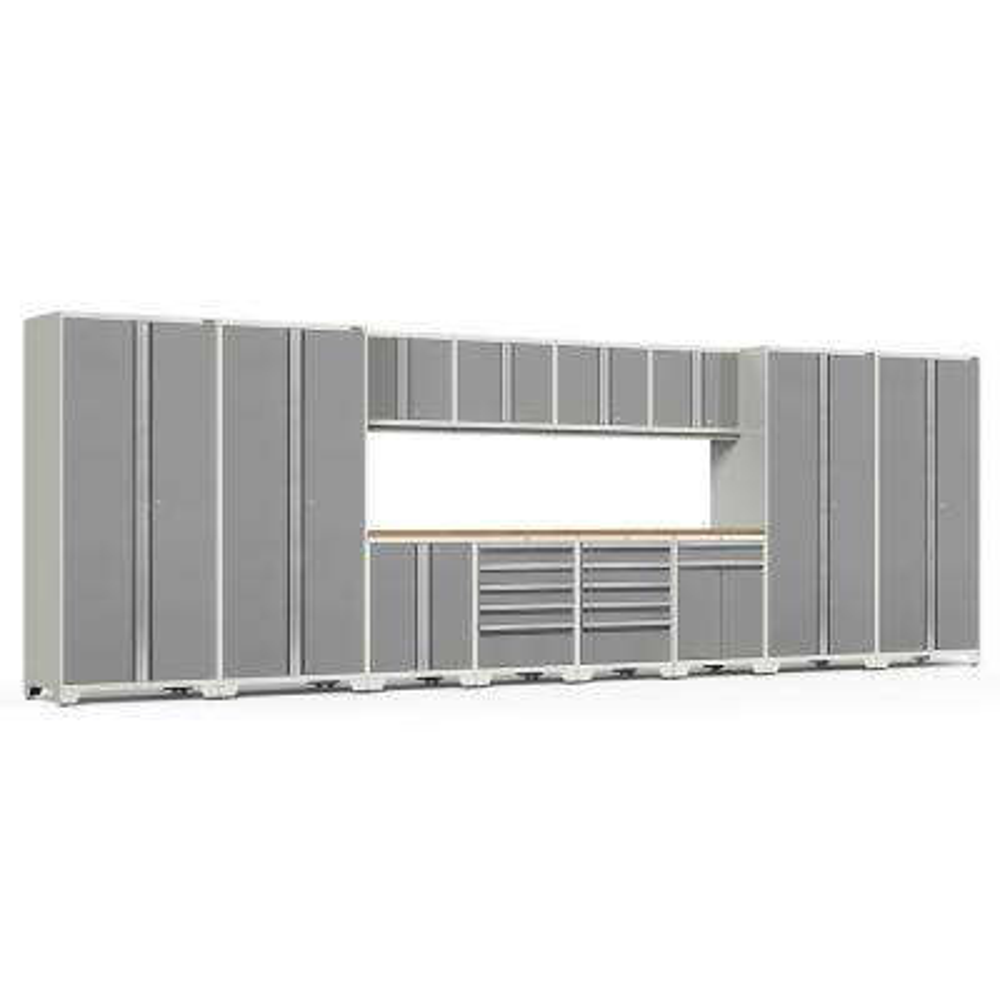 Pro Series 256 in. W x 85.25 in. H x 24 in. D 18-Gauge Welded Steel Garage Cabinet Set in Platinum (14-Piece)