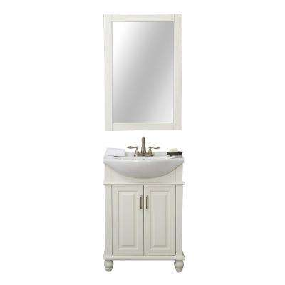 Lancaster 24 in. W x 17.5 in. D x 34.6 in. H Bath Vanity in White with Porcelain Vanity Top in White with White Basin