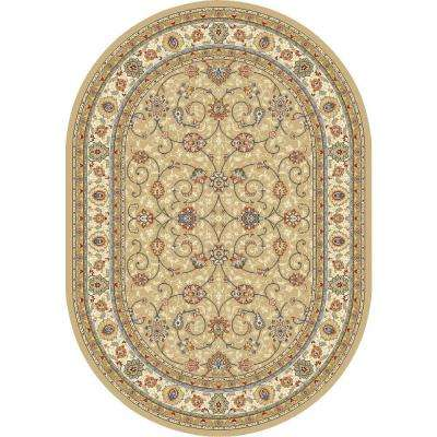 Vaughan Light Gold/Ivory 7 ft. x 10 ft. Indoor Oval Area Rug