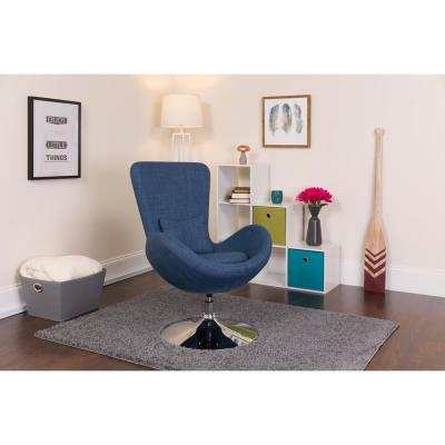 Blue Fabric Egg Series Reception-Lounge-Side Chair
