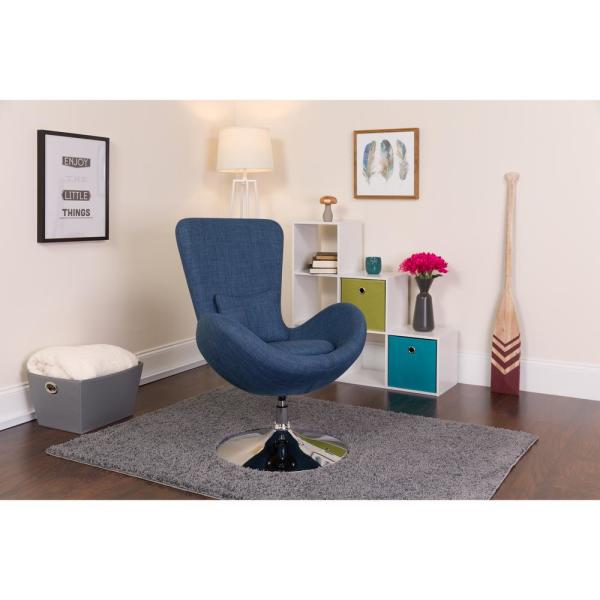 Flash Furniture Blue Fabric Egg Series Reception-Lounge-Side Chair CH162430BLFAB
