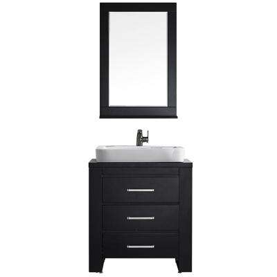 Pascara 30 in. W x 21 in. D Vanity in Espresso with Wood Vanity Top in Espresso with White Vessel Basin and Mirror