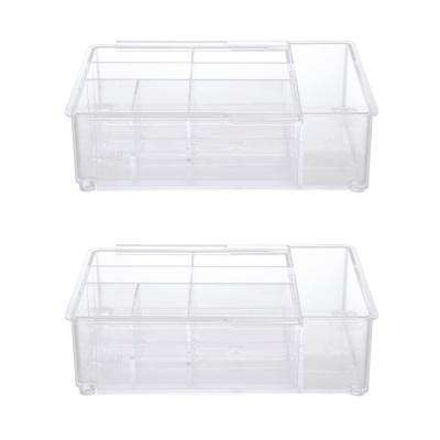 Expandable Drawer Organizer Tray, 8 Compartments in Clear (Set of 2)