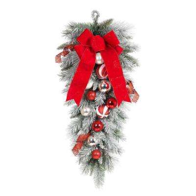 32 in flocked pine teardrop with red and white balls - Peppermint Christmas Decorations