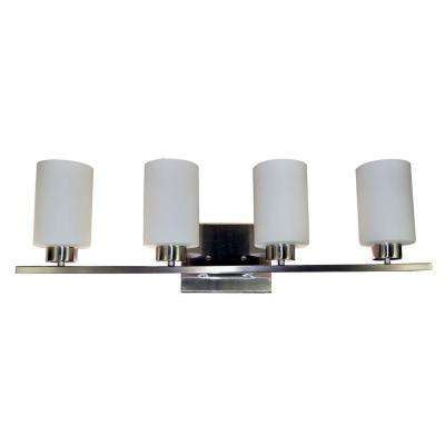 4-Light Brushed Nickel Vanity Light with Opal Glass