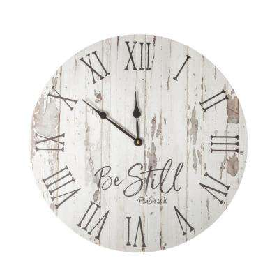 Be Still White Washed Pine Wood Clock