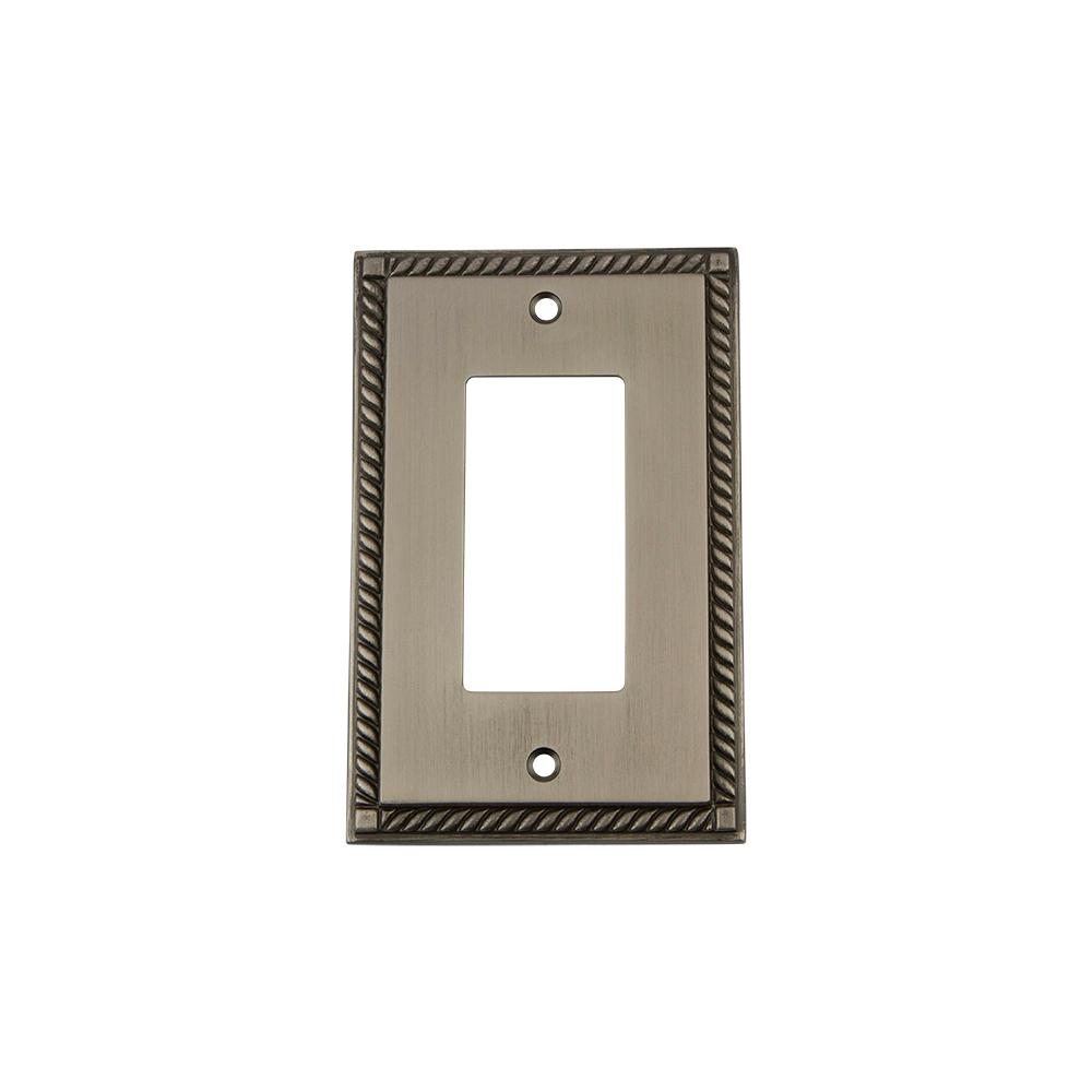 Rope Switch Plate with Single Rocker in Antique Pewter