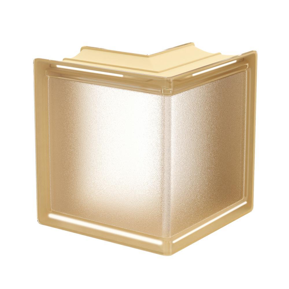 Vanilla 5.75 in. x 5.75 in. x 3.15 in. Classic Ivory Corner Glass Block
