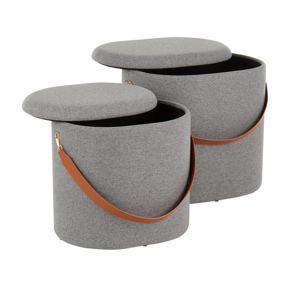 Lumisource Nesting Grey Oval Strap Ottoman Set Ot Otto Gy The