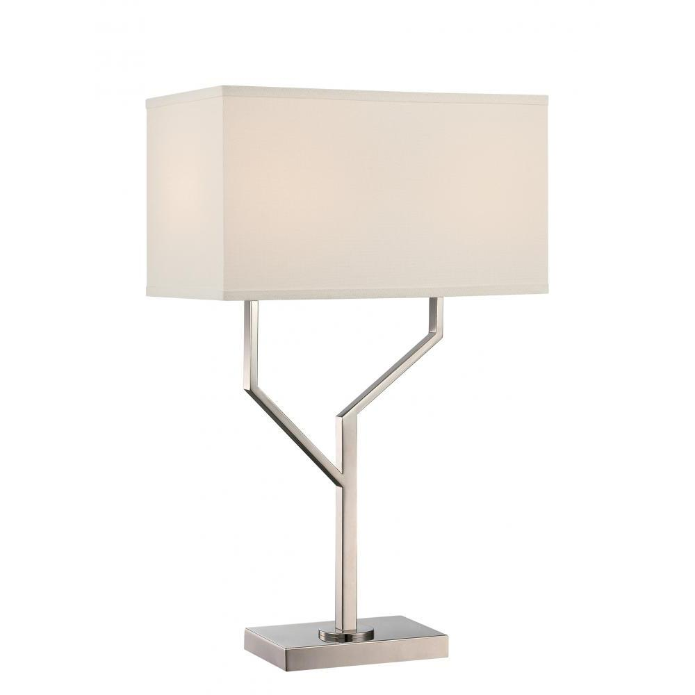 Silver no shade table lamps lamps the home depot polished steel table lamp geotapseo Image collections