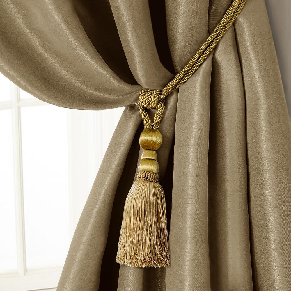 Amelia 24 in. Tassel Tieback Rope Cord Window Curtain Accessories in Gold