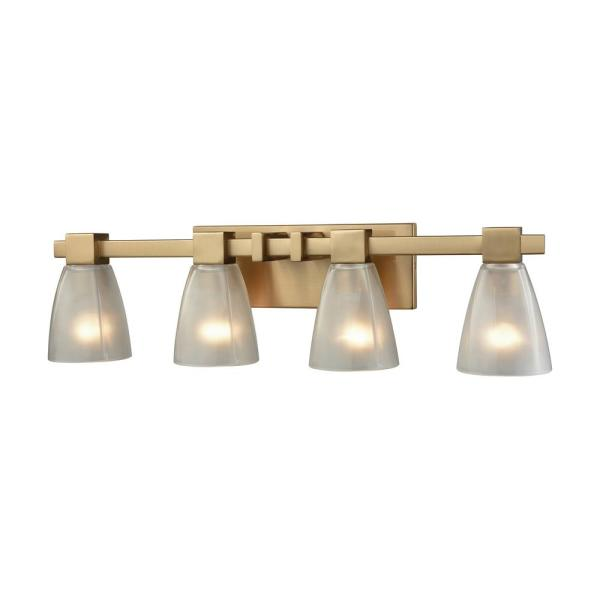Ensley 4-Light Satin Brass with Frosted Glass Bath Light