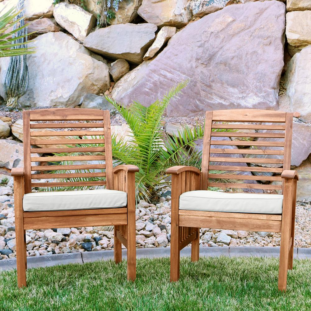 Walker Edison Furniture Company Boardwalk Brown Acacia Outdoor Dining Chairs With White Cushions Set Of