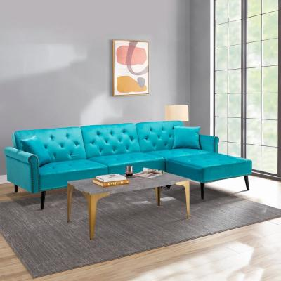 115 in. Light Blue Velvet 3-Seater Full Sleeper Sectional Sofa Bed with Tapered Legs
