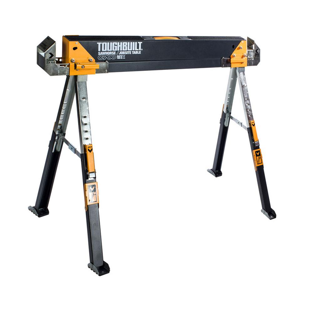 TOUGHBUILT Adjustable Height (25-32 in.) and Width (39.9-45.9 in.) Steel Sawhorse and Jobsite Table – 1300 lb. Capacity