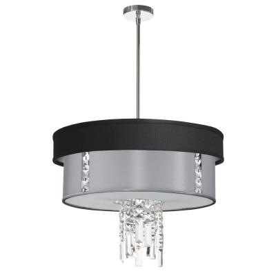 Rita 3-Light Polished Chrome Crystal Pendant with Black/Silver and Steel Shade