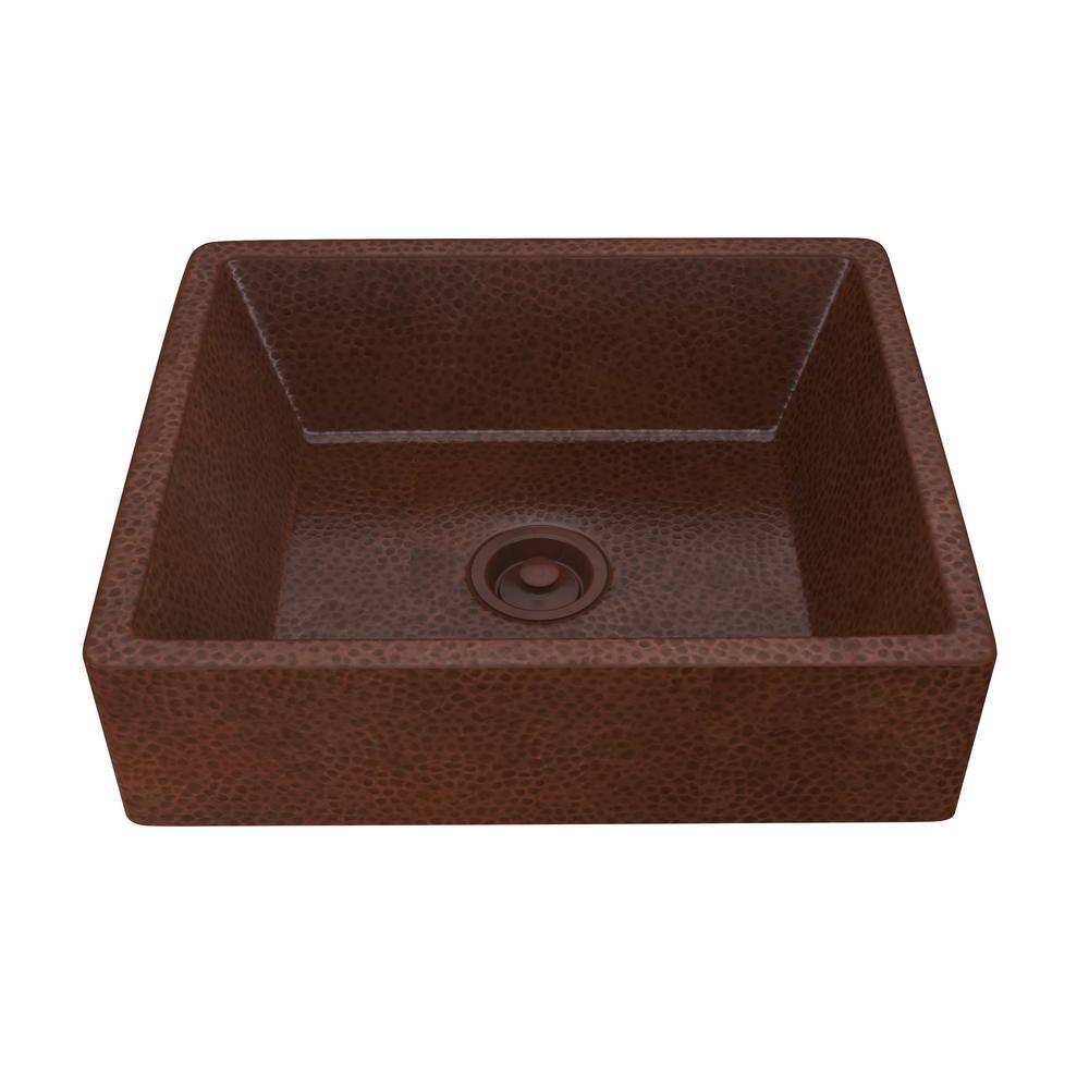 Handmade Vessel Sink In Hammered Antique Copper