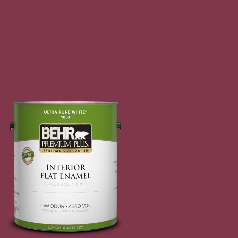 BEHR Premium Plus 1-gal. #120D-7 Ruby Red Zero VOC Flat Enamel Interior Paint-DISCONTINUED