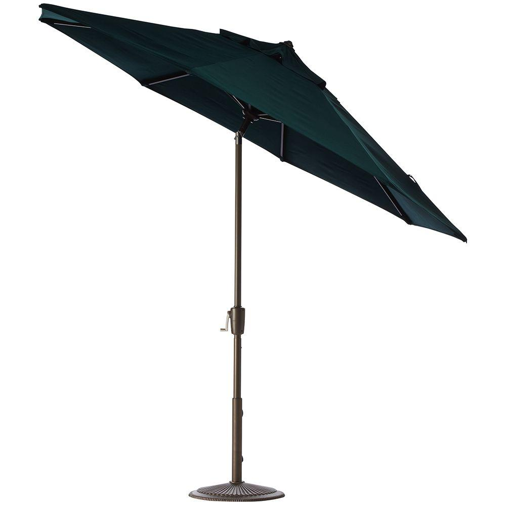 Home Decorators Collection 9 ft. Auto-Tilt Patio Umbrella in Forest Green Sunbrella with Bronze Frame