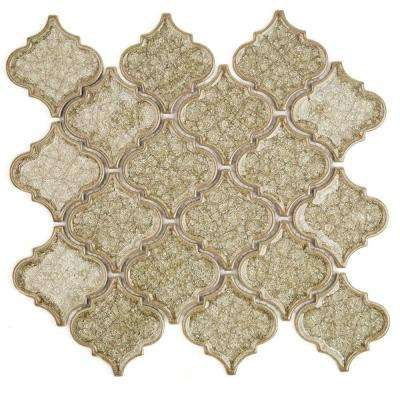 Roman Selection Iced Tan Lantern Glass Mosaic Tile - 3 in. x 6 in. Tile Sample