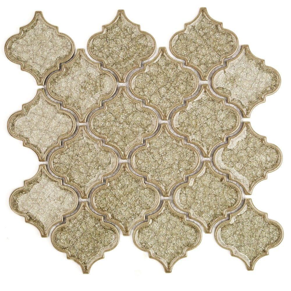 Splashback Tile Roman Selection Iced Tan Lantern 9 3/4 In. X 10
