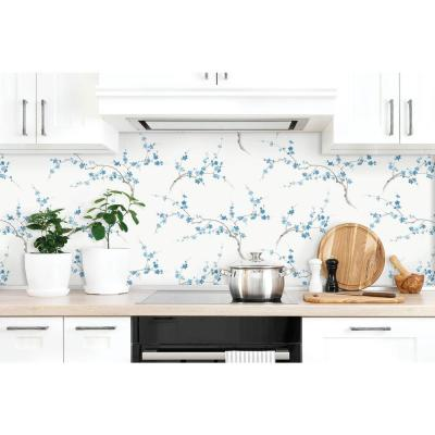 Cherry Blossom Pacific Blue and White Floral Peel and Stick Wallpaper (Covers 30.75 sq. ft.)