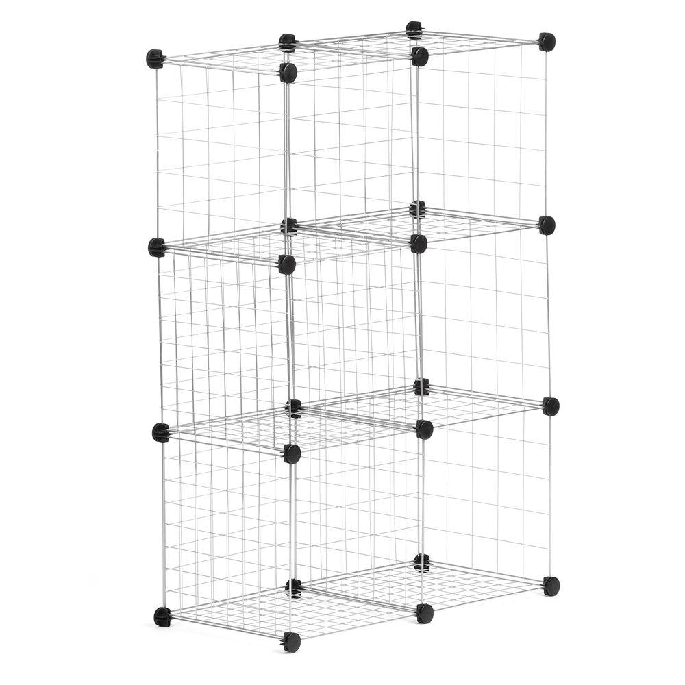 30.375 in. x 44.625 in. Silver Stackable 6-Cube Organizer