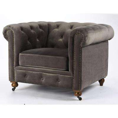 gordon grey velvet arm chair