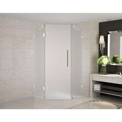 Neoscape 40 in. x 40 in. 72 in. Frameless Hinged Neo-Angle Shower Enclosure with Frosted Glass in Stainless Steel