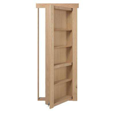 28 in. x 80 in. Flush Mount Assembled Oak Unfinished Wood Left-Hand Inswing Solid Core Interior Bookcase Door