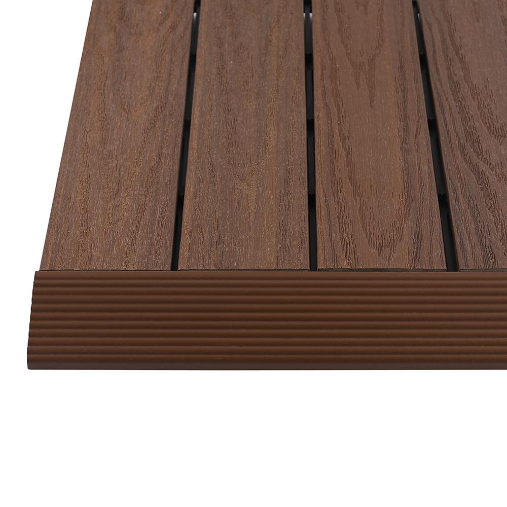 NewTechWood 1/6 ft. x 1 ft. Quick Deck Composite Deck Tile Straight Trim in Brazilian Ipe (4-Pieces/box)