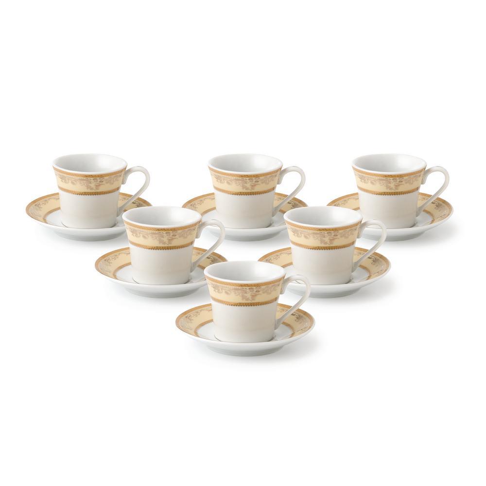 Lorren Home 2 oz. Porcelain Espresso Set Service for 6-Gold Floral