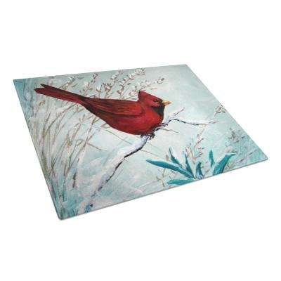 Cardinal Winter Red Bird Tempered Glass Large Cutting Board