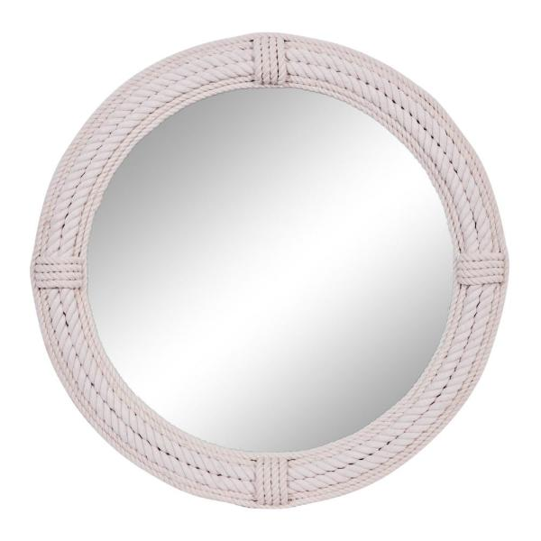 Litton Lane Round White Jute Rope Wall Mirror 36 In 89515 The Home Depot